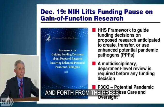 LIAR FAUCI BUSTED: 2018 Video Shows Dr. Fauci Lift NIH Funding Pause on Gain-of-Function Research
